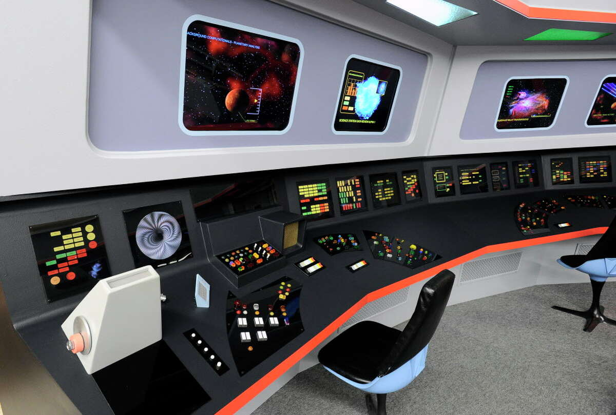 Click through to see a slideshow of a replica of Star Trek's U.S.S. Enterprise in Ticonderoga. View of the bridge on a replica studio set version of the starship Enterprise from the original