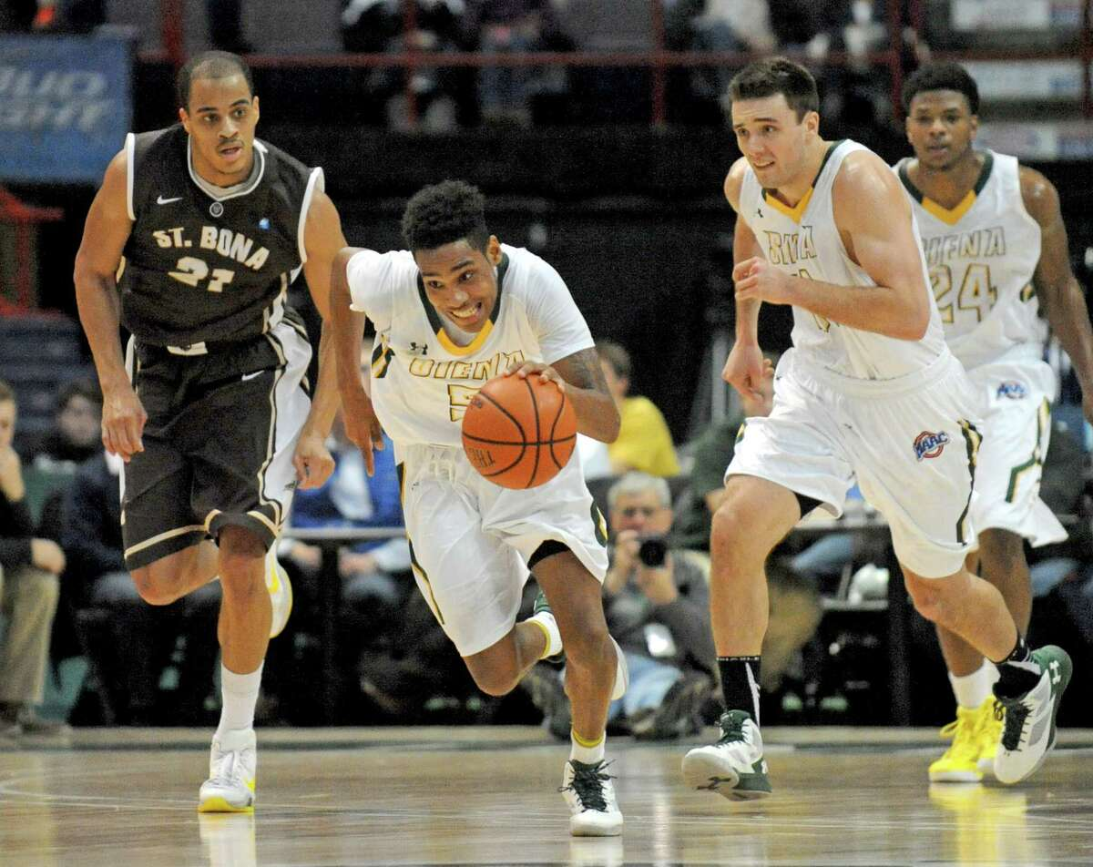 Siena's Kenny Wormley comes up with a steal during their men's college basketball game against St. Bonaventure at the Times Union Center on Tuesday Dec. 22, 2015 in Albany, N.Y. (Michael P. Farrell/Times Union)