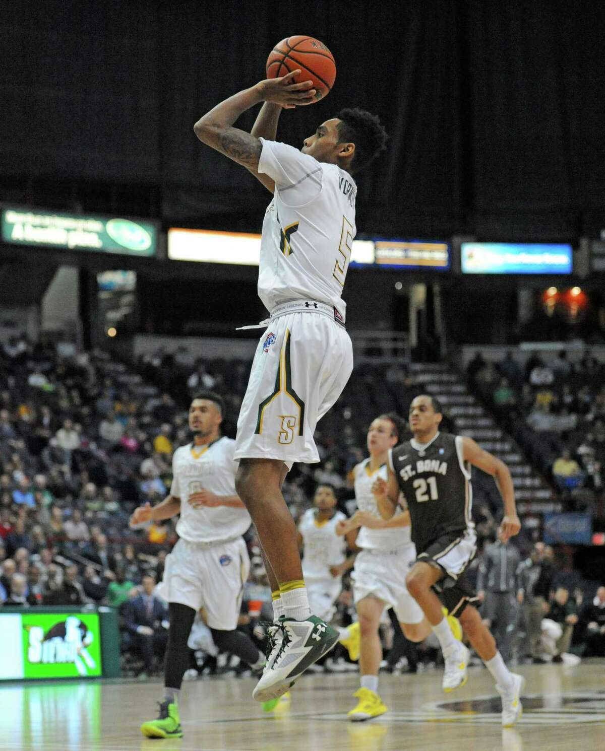 Siena's Kenny Wormley puts up a three pointer for a score during their men's college basketball game against St. Bonaventure at the Times Union Center on Tuesday Dec. 22, 2015 in Albany, N.Y. (Michael P. Farrell/Times Union)