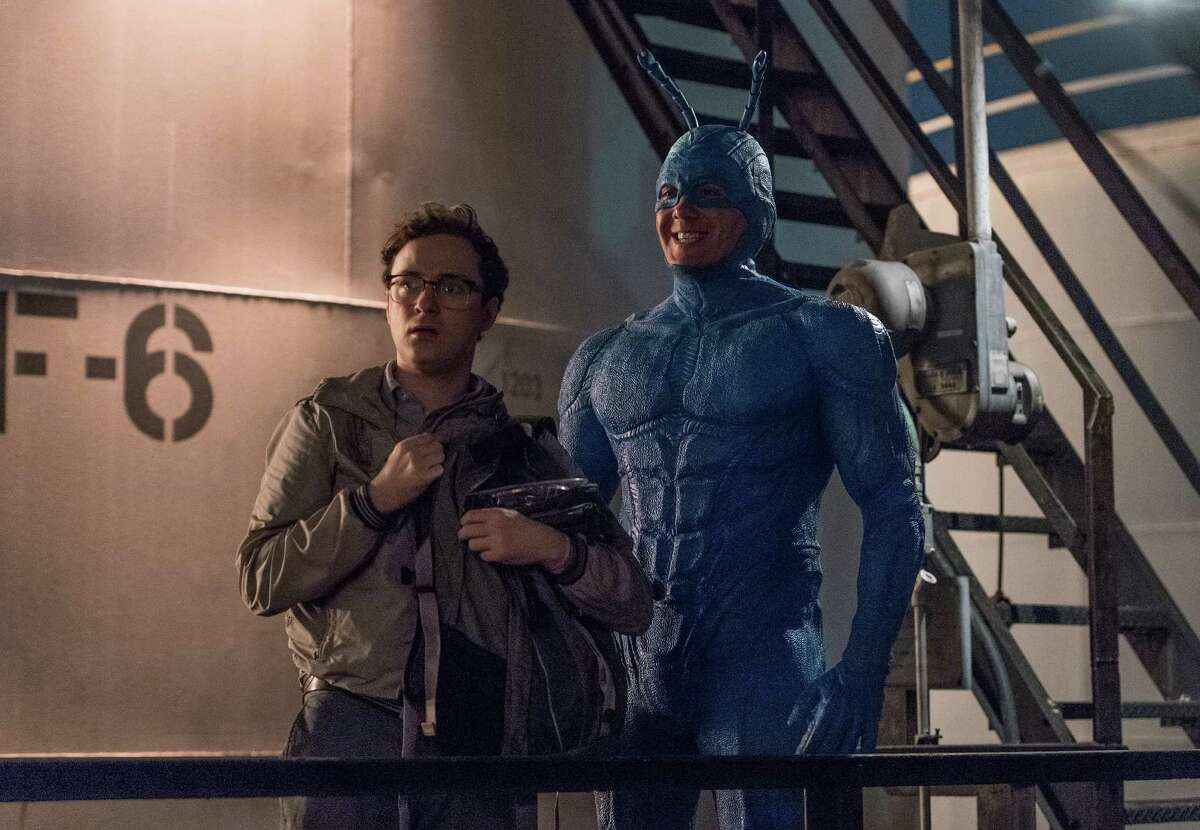 During his efforts to hunt down supervillain The Terror, conspiracy expert Arthur (Griffin Newman) encounters a strange blue superhero who identifies himself as The Tick in Amazon Prime's new adaptation of Ben Edlund's humorous comic book.