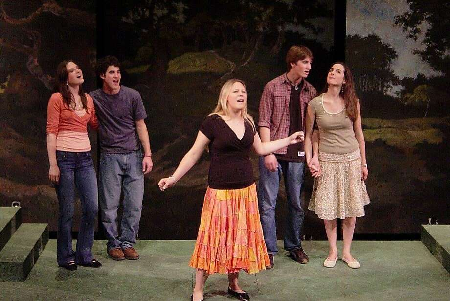 """As a teen student at ACT's Young Conservatory, Darren Criss (second from left) sang in the musical revue """"Shed a Little Light: The Music of James Taylor."""" Photo: Tom Haygood"""
