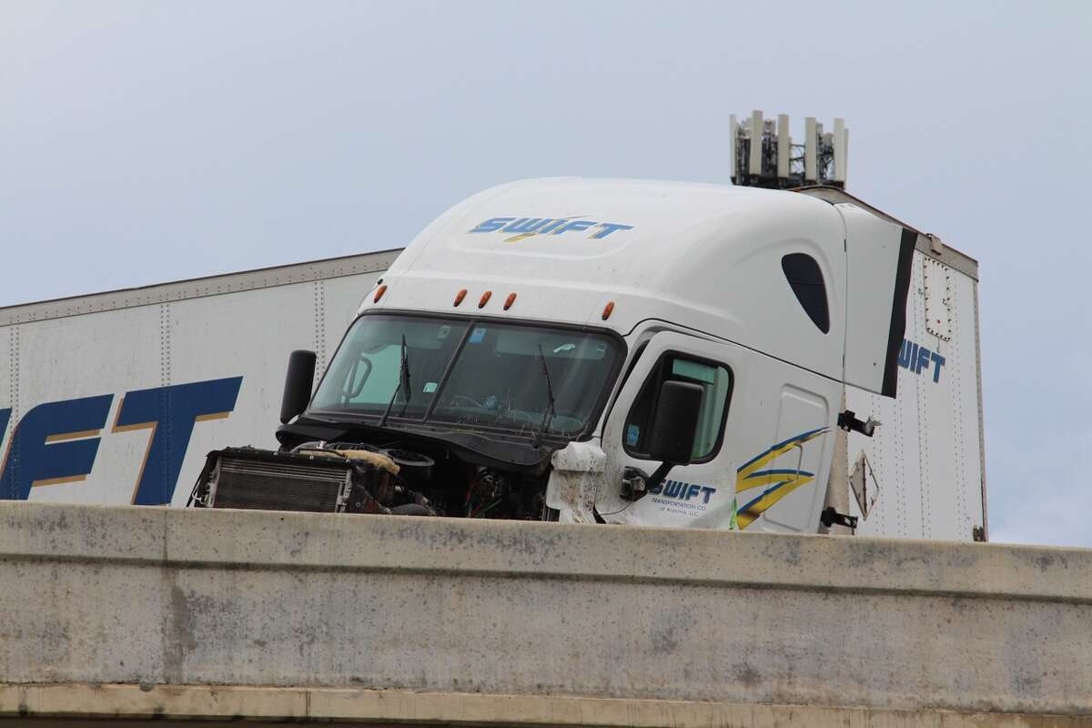 A an 18-wheeler caused a major pile up after the rig jackknifed on the south bound lanes of Interstate 37 Aug. 16 2016.