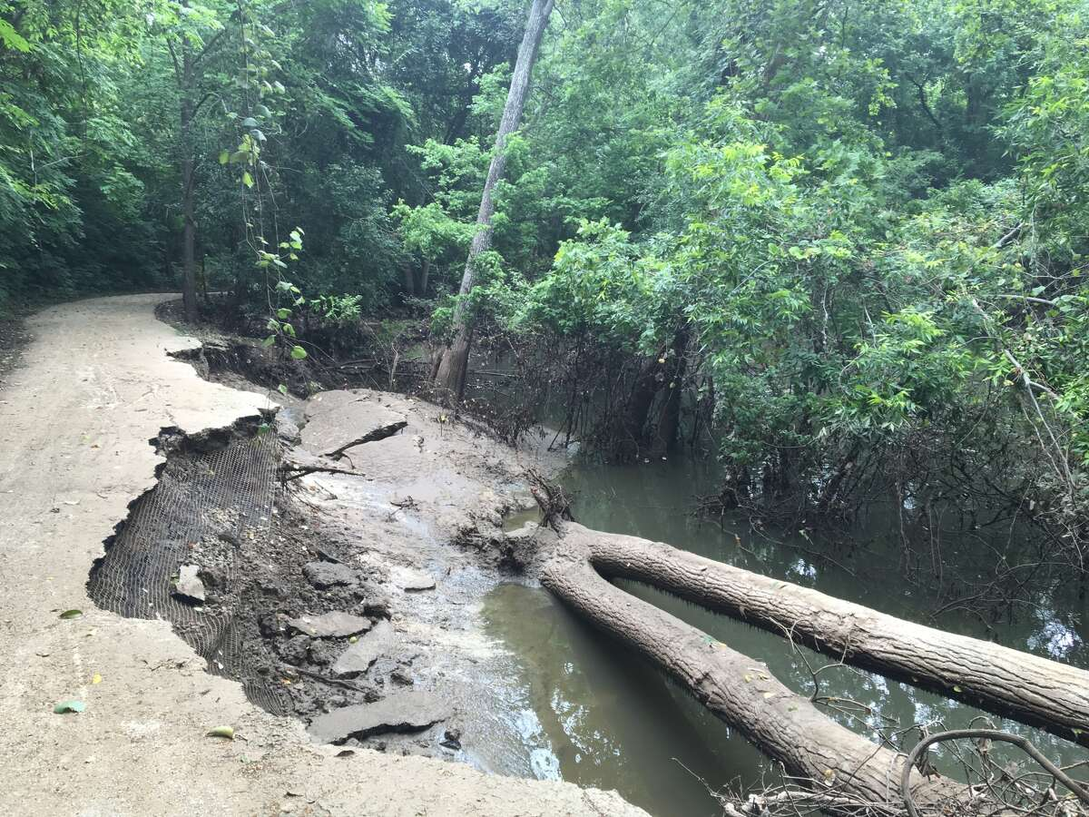 Segments of Buffalo Bayou's banks have washed away at Terry Hershey Park in west Houston following historic flooding in April. The Harris County Flood Control District will lead a joint effort to perform emergency repairs to affected areas of the park's mix-use trails.