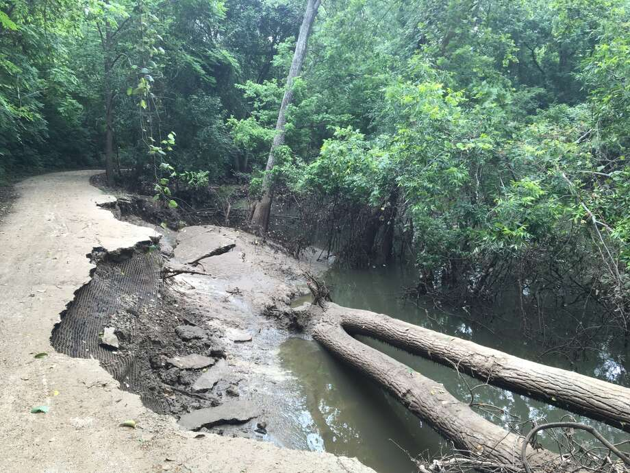 Segments of Buffalo Bayou's banks washed away at Terry Hershey Park in west Houston following last year's  historic flooding in April. Photo: Harris County Flood Control Dist