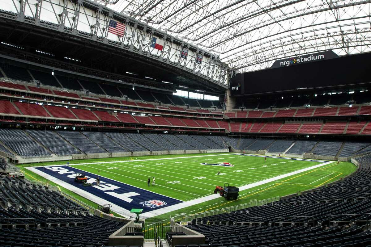 The new UBU Sports artificial playing surface is installed at NRG Stadium in preparation for the upcoming season on Tuesday, Aug. 16, 2016, in Houston.