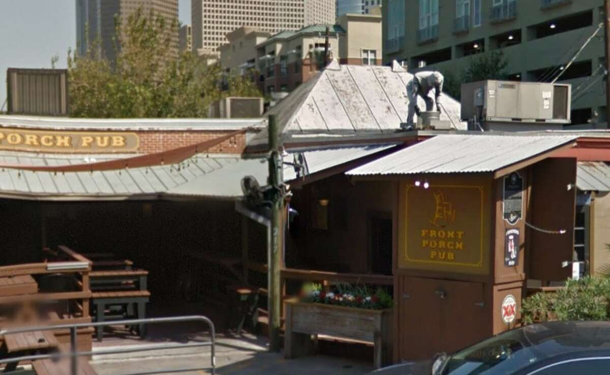 The Front Porch Pub Address: 217 Gray, Houston, Texas 77002 Demerits: 9 Inspection highlights: Observed grocery bag being used to store brisket in hot-hold unit. Observed bar drink dispenser gun nozzle/holder not washed, rinsed and sanitized after interruption of operations, to prevent accumulation of brown residues at tip of nozzles; and brown slime inside the holder. Observed no test kit or other device (provided / used) to measure parts per million or milligrams per liter of chemical sanitization solution.