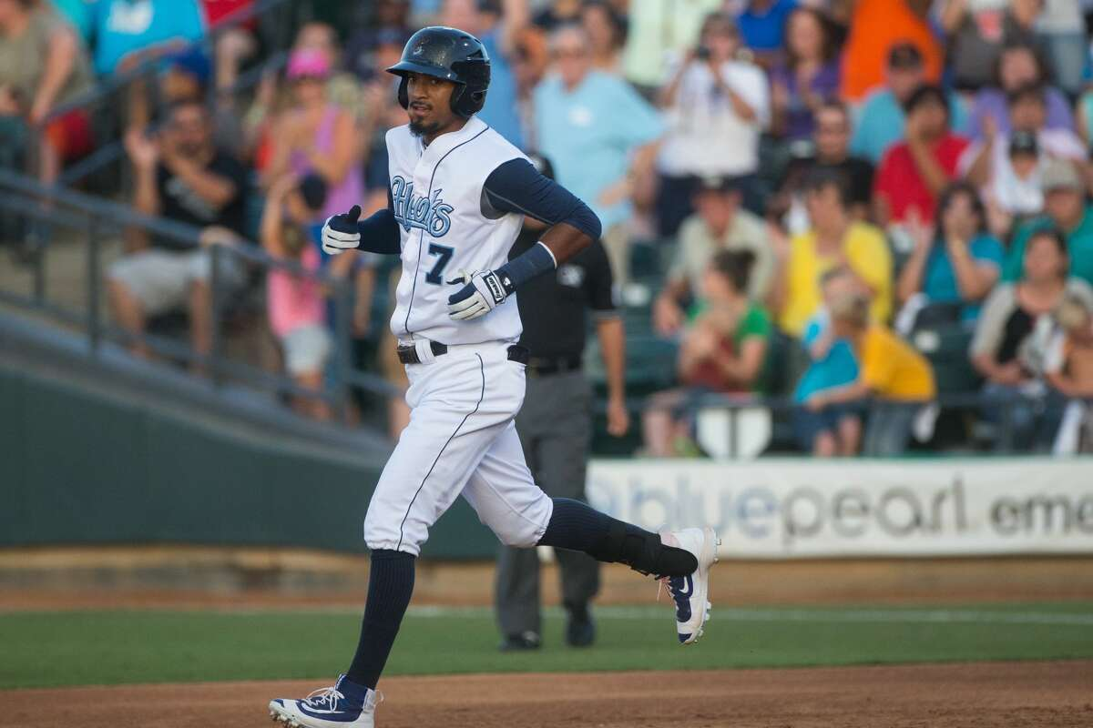 The Corpus Christi Hooks' Danry Vasquez runs to second after hitting a double during the third inning of their game against the Cardinals at Whataburger Field om Corpus Christi on Saturday, July 2, 2016.