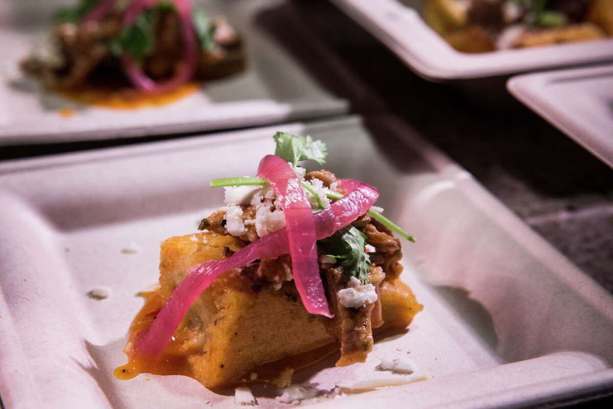 """A sample of pork carnitas tamales created by the Aramark culinary team is shown during a """"What's New at NRG Stadium"""" season preview on Tuesday, Aug. 16, 2016, in Houston."""