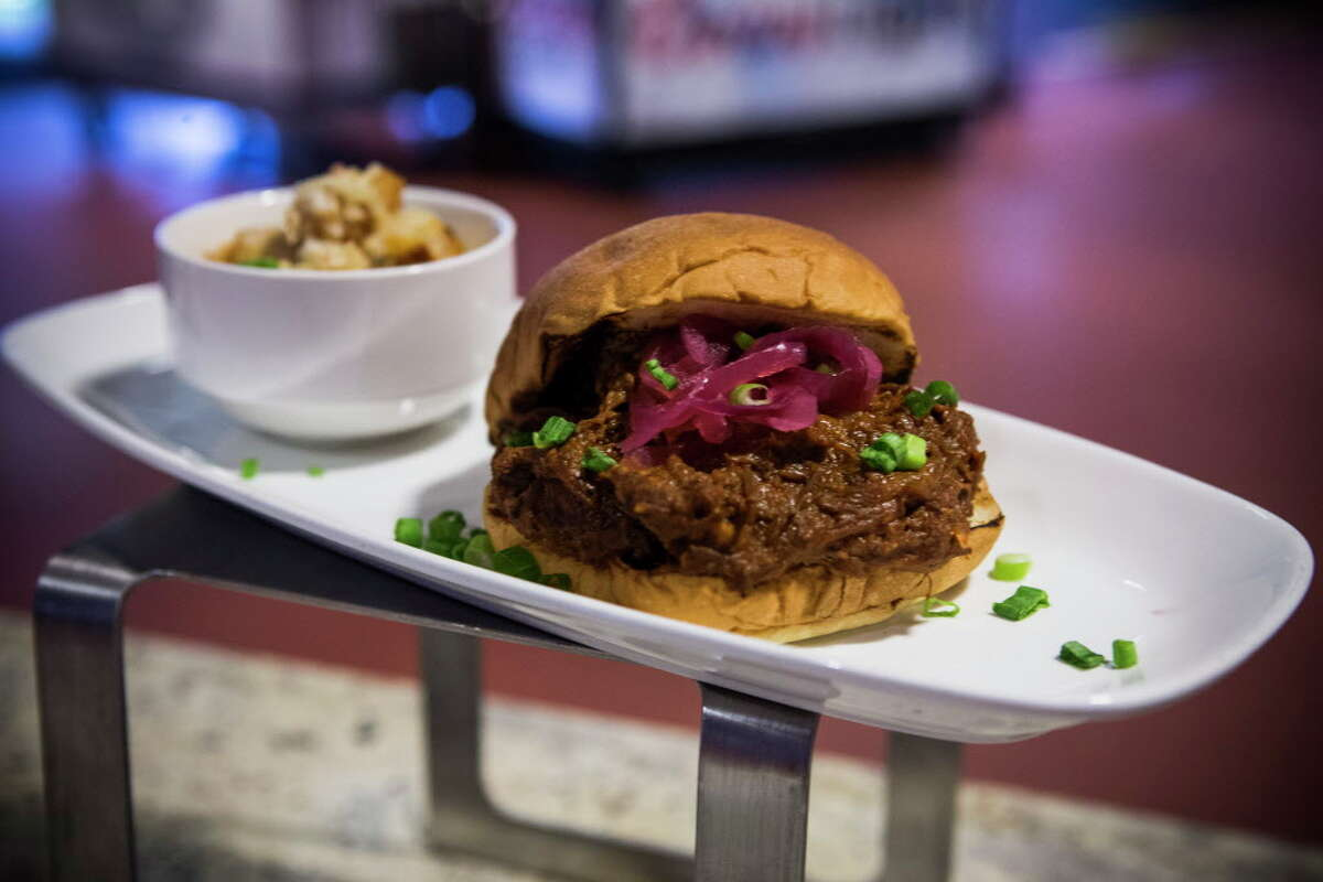 """Chris Shepherd's Korean Sloppy Joecreated by the Aramark culinary teamis shown during a """"What's New at NRG Stadium"""" season preview on Tuesday, Aug. 16, 2016, in Houston."""