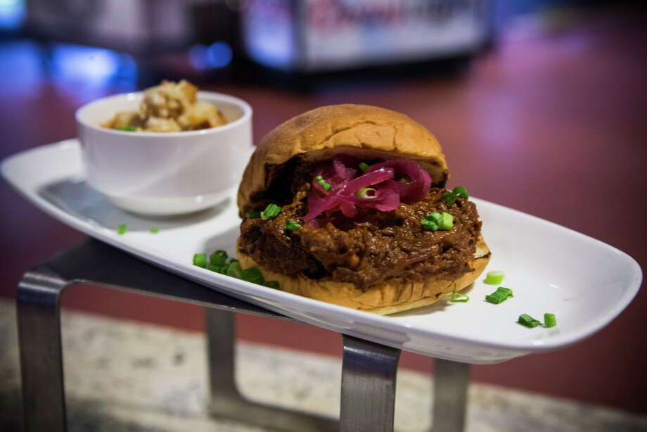 "Chris Shepherd's Korean Sloppy Joe created by the Aramark culinary team is shown during a ""What's New at NRG Stadium"" season preview on Tuesday, Aug. 16, 2016, in Houston. Photo: Brett Coomer, Houston Chronicle / © 2016 Houston Chronicle"