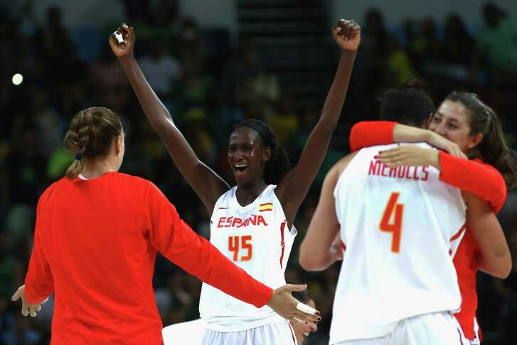 Astou Ndour of Spain celebrates victory during the women's Quarterfinal against Turkey at Carioca Arena 1 on Aug. 16, 2016 in Rio de Janeiro