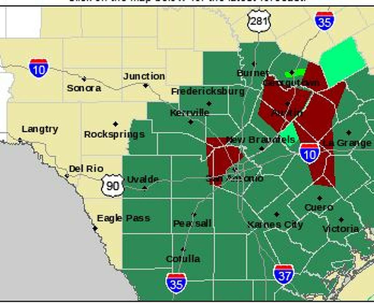 The red area shows the areas under a flash flood warning. The green areas are under a flash flood watch.