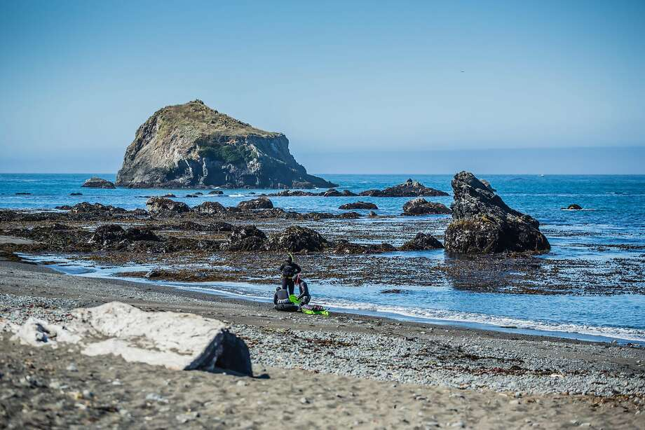 Divers prepare to go dive for abalone at Van Damme State Park in Little River, CA (Mendocino County). Photo: Brendan McGuigan