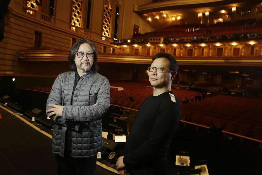 Dream of the Red Chamber director Stan Lai and composer Bright Sheng stand for a portrait at the War Memorial Opera House. Photo: Lea Suzuki, The Chronicle
