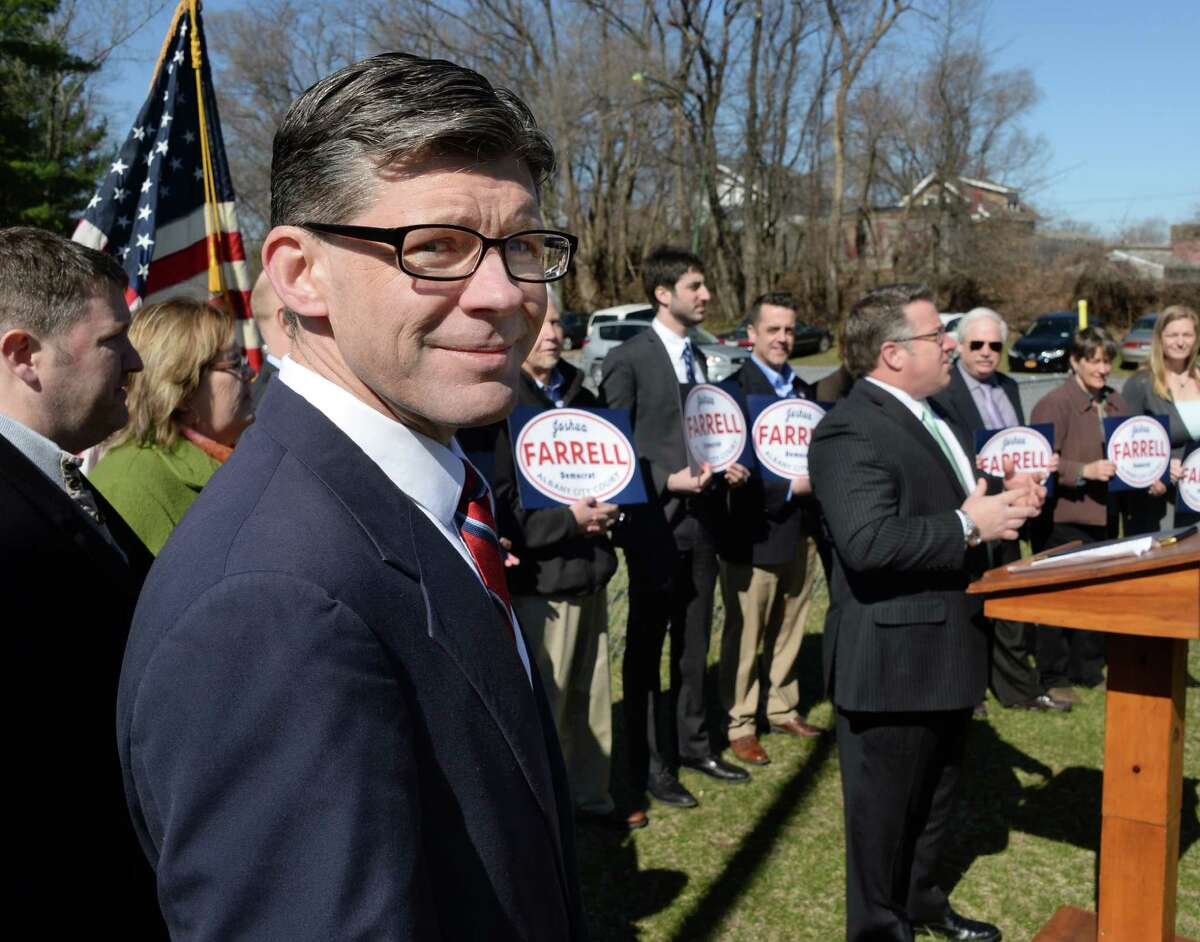 Joshua Farrell, a lifelong Albany resident, announces his candidacy for Albany City Court Judge at Westland Hills Park. Thursday April 14, 2016 in Albany, NY. Farrell is currently an assistant attorney general with New York State. (John Carl D'Annibale / Times Union)