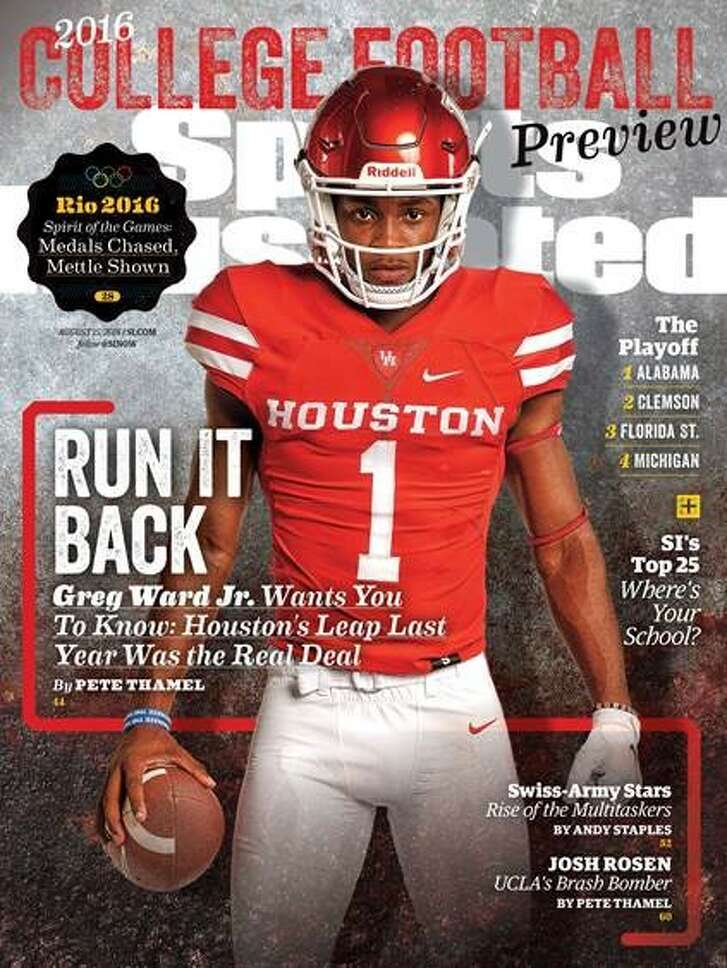 University of Houston quarterback Greg Ward Jr. is featured on the regional cover for the Aug. 15, 2016, college football preview issue.(Courtesy Sports Illustrated)
