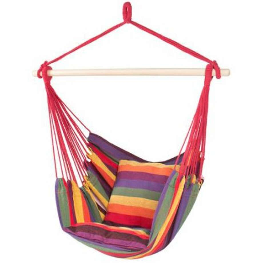 This Hanging Hammock Chair lets you sit back and relax outdoors — or indoors, if that's more your thing. Photo: Walmart