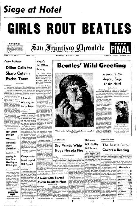 The Chronicle's front page from Aug. 19, 1964, covers the bedlam surrounding a Beatles visit to San Francisco. Photo: The Chronicle 1964