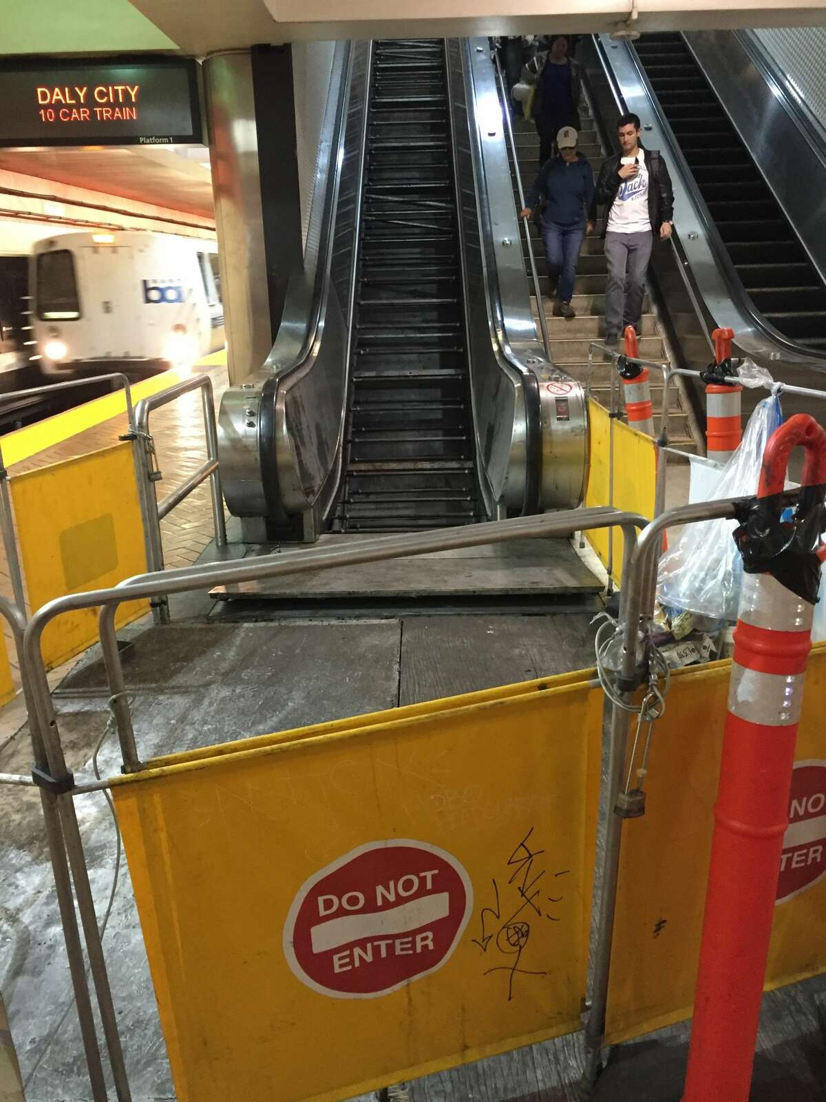 A view of the ripped-out escalator.