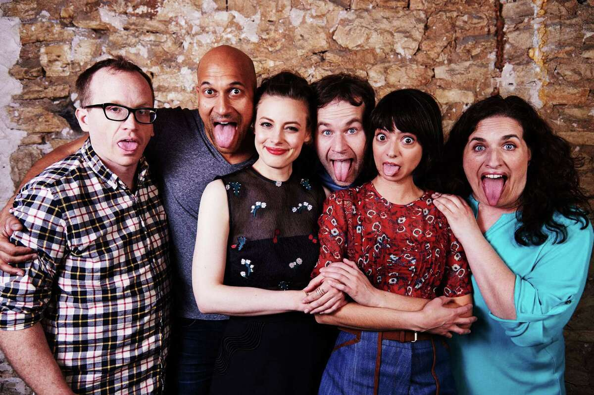 """Sure, these guys are improv comics, but this photo of the cast of """"Don't Think Twice"""" looks rehearsed."""