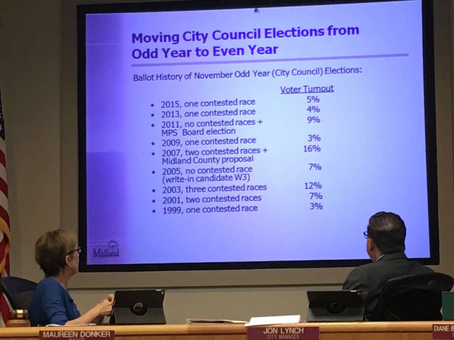 Mayor Maureen Donker, Ward 2, left, and City Manager Jon Lynch, right, look at a slide with information related to a proposal that would change city council elections to even years at Monday's city council meeting.