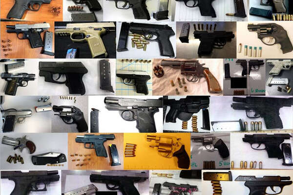 A TSA composite photo offers a look at some of the 78 firearms airport security officials said they captured in just one week at airports nationwide.
