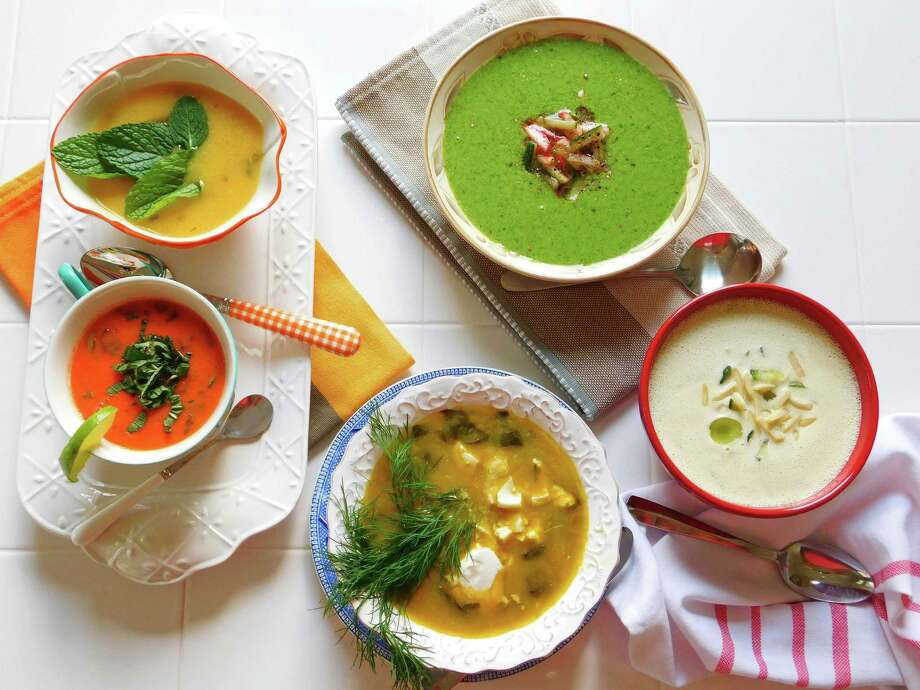 Cold soups clockwise: Lettuce Soup with Radish Salsa, Almond Gazpacho ...