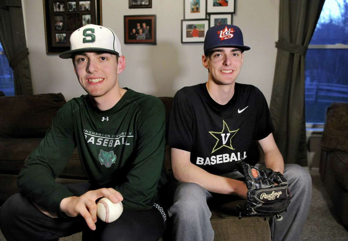 Twin brothers Ben Anderson, 17, left, and Ian Anderson, 17, who both pitch for Shenendehowa High's baseball team, on Thursday, April 14, 2016, at their home in Clifton Park, N.Y. (Cindy Schultz / Times Union)