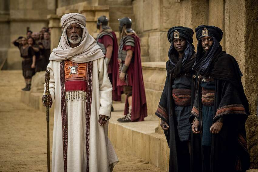 Morgan Freeman (left) as Ilderim provides unintended laughs, shouting instructions to Ben-Hur during the chariot race.