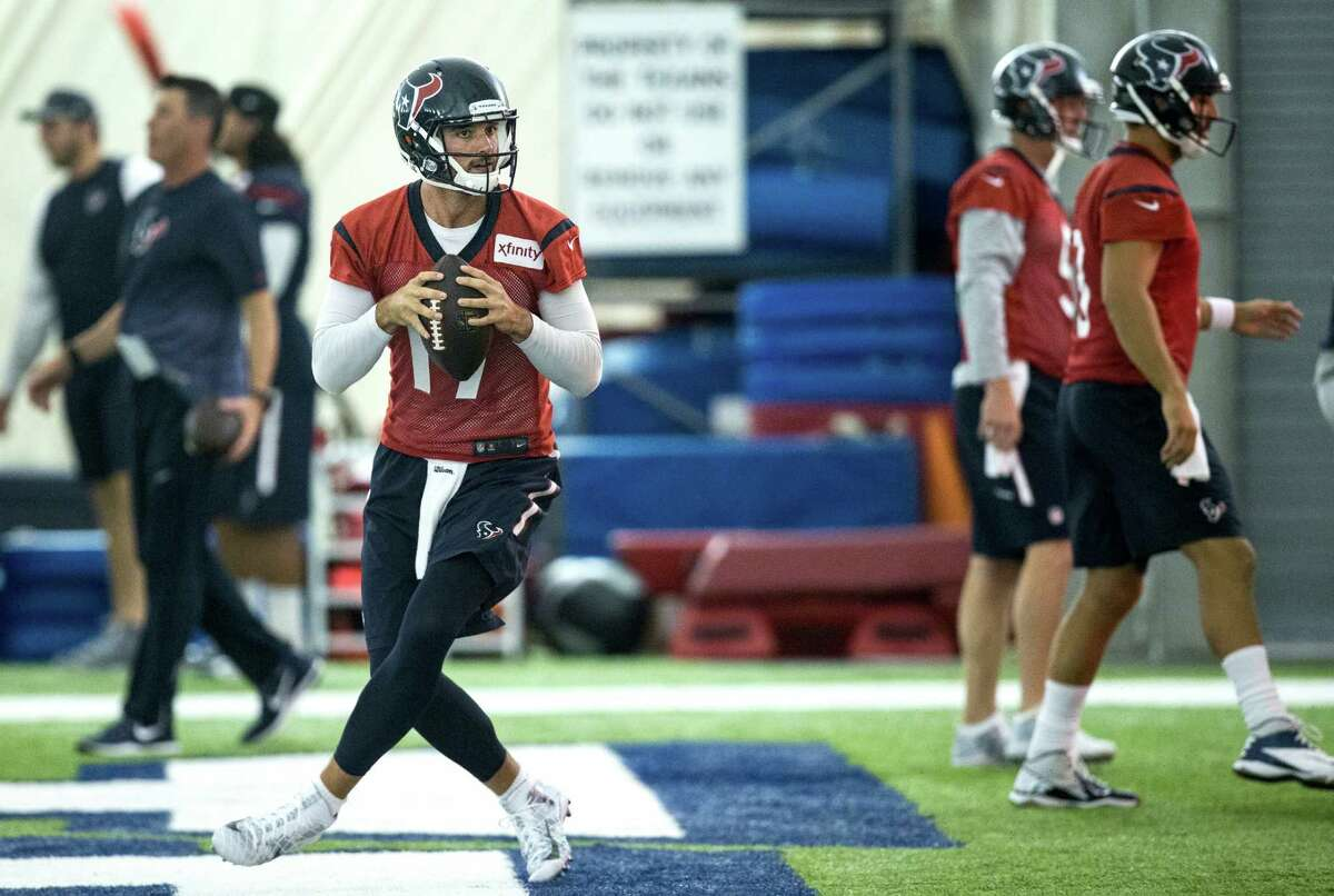 Houston Texans quarterback Brock Osweiler (17) drops back to pass during Texans training camp at Houston Methodist Training Center on Wednesday, Aug. 17, 2016, in Houston.