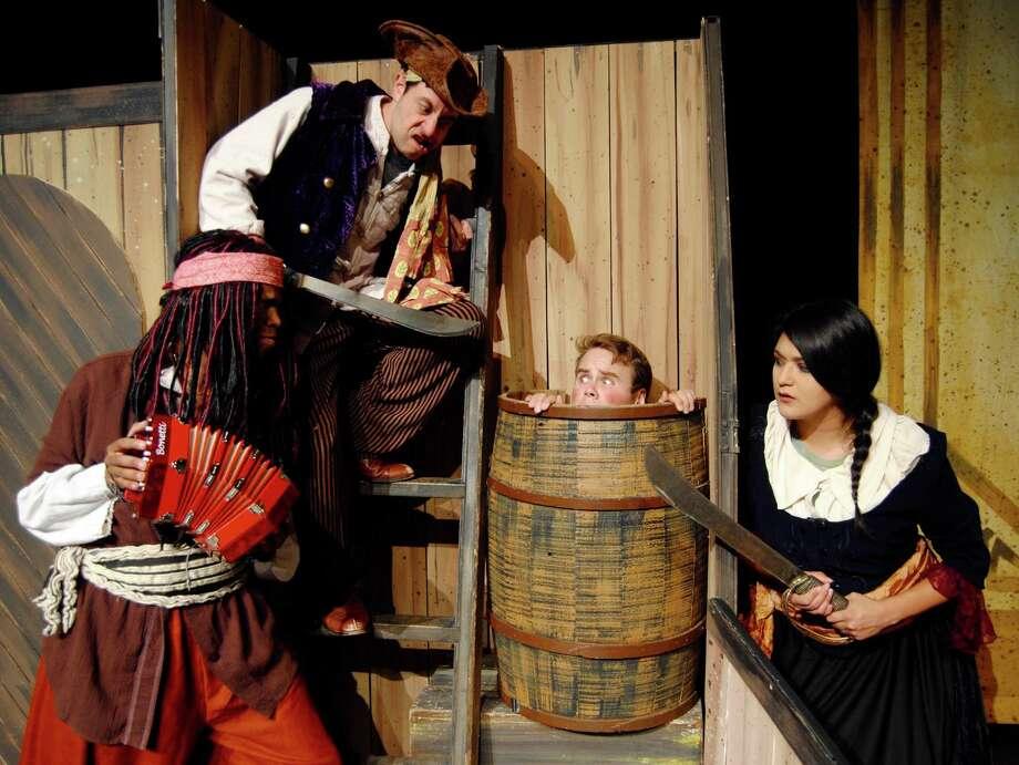 "Magik Theatre closes its 2015-'16 season with ""Treasure Island,"" featuring, from left,Mark Johnson, Jeremy Zenor, Cody Asher and Jovi Lee. Photo: Courtesy Megan Coy"