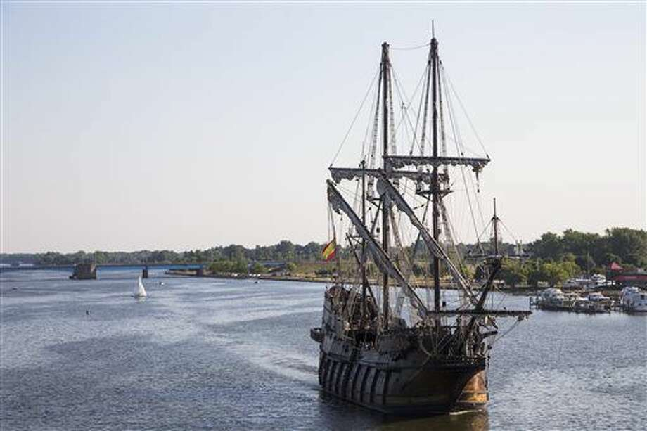 In this Wednesday, July 20, 2016 photo, The Spanish ship El Galeon Andalucia sails back to the Saginaw Bay continuing its journey as part of the Tall Ships Challenge in Bay City, Mich. (Gavin McIntyre/The Bay City Times via AP) Photo: Gavin McIntyre