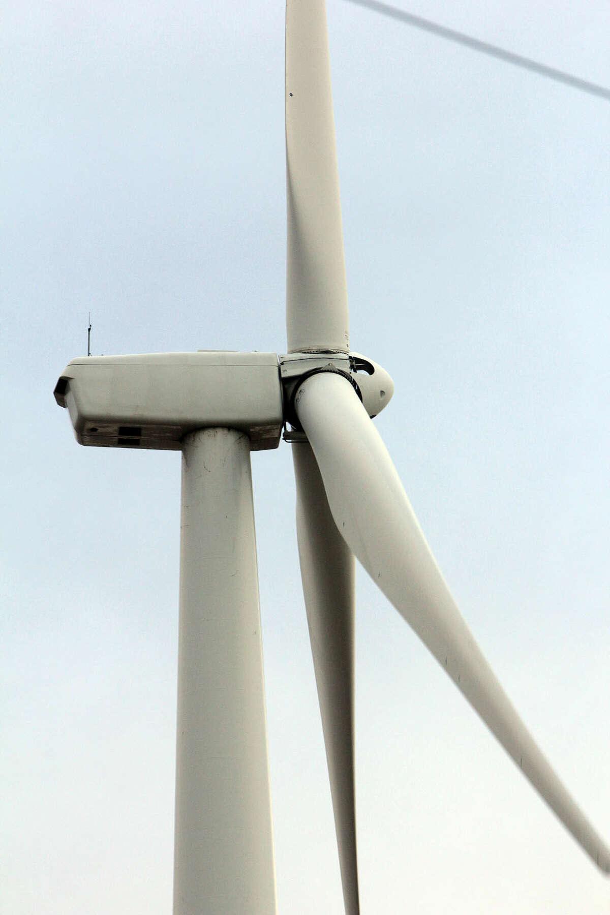 A nearby turbine without oil markings. Photo taken Feb. 29. (Chris Aldridge/Huron Daily Tribune)