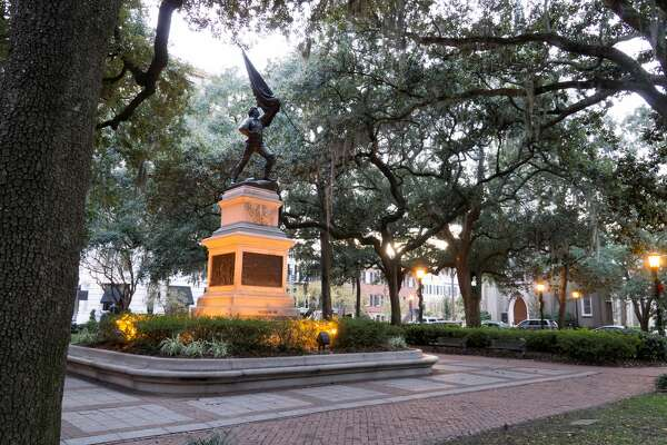Twilight in the square by a statue commemorating the battle during the Revolutionary War in the city of Savannah, Georgia. (Marcia Straub/Getty Images)