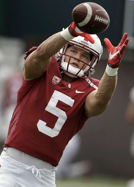 Running back Christian McCaffrey, 5 during Stanford Cardinal football practice in Stanford, California, on Wed. Aug. 17, 2016. Photo: Michael Macor, The Chronicle