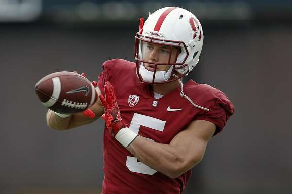 Running back Christian McCaffrey, 5 during Stanford Cardinal football practice in Stanford, California, on Wed. Aug. 17, 2016.
