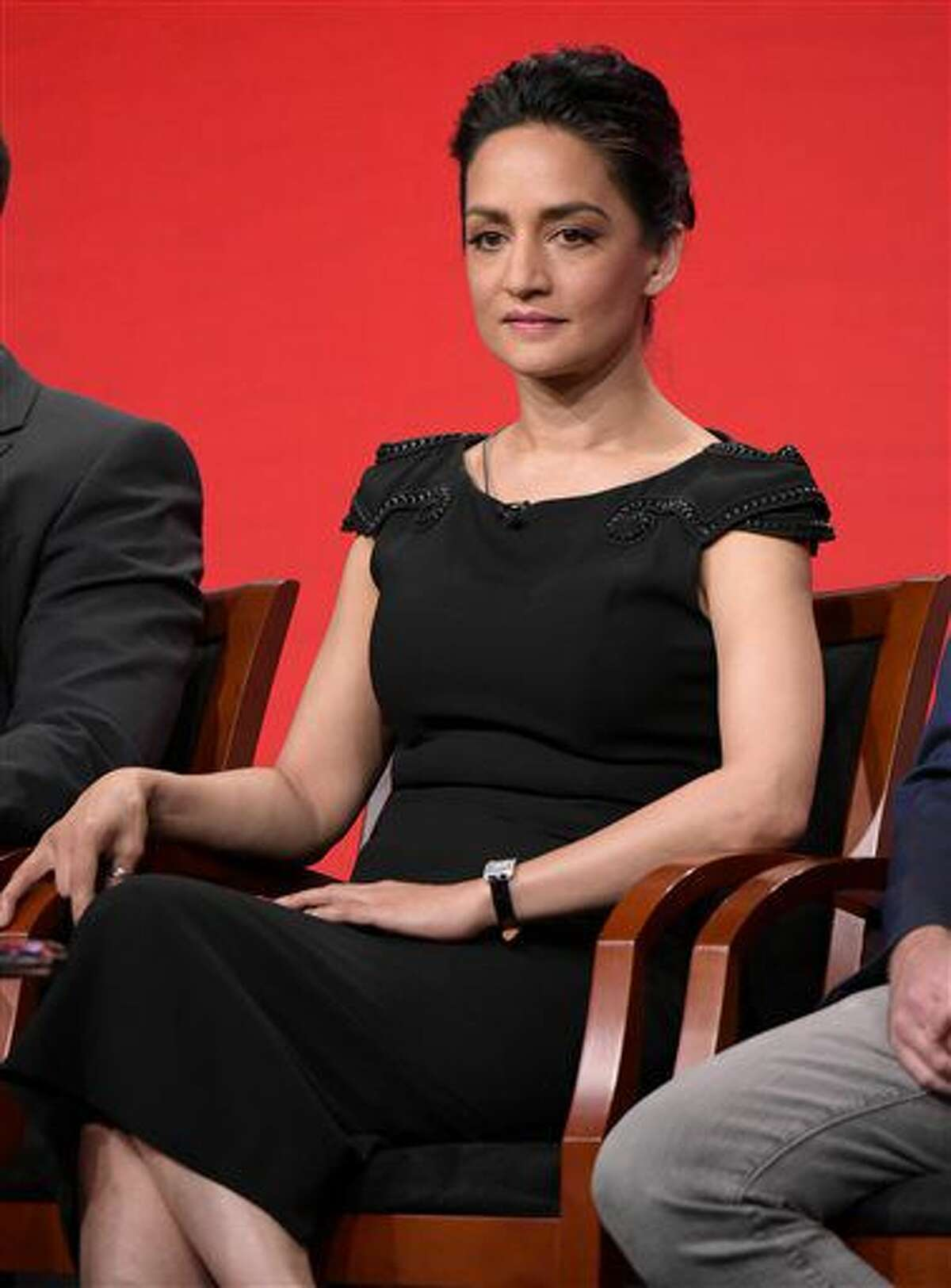 """Archie Panjabi participates in the """"Blindspot"""" panel during the NBCUniversal Television Critics Association summer press tour on Tuesday, Aug. 2, 2016, in Beverly Hills, Calif. (Photo by Richard Shotwell/Invision/AP)"""