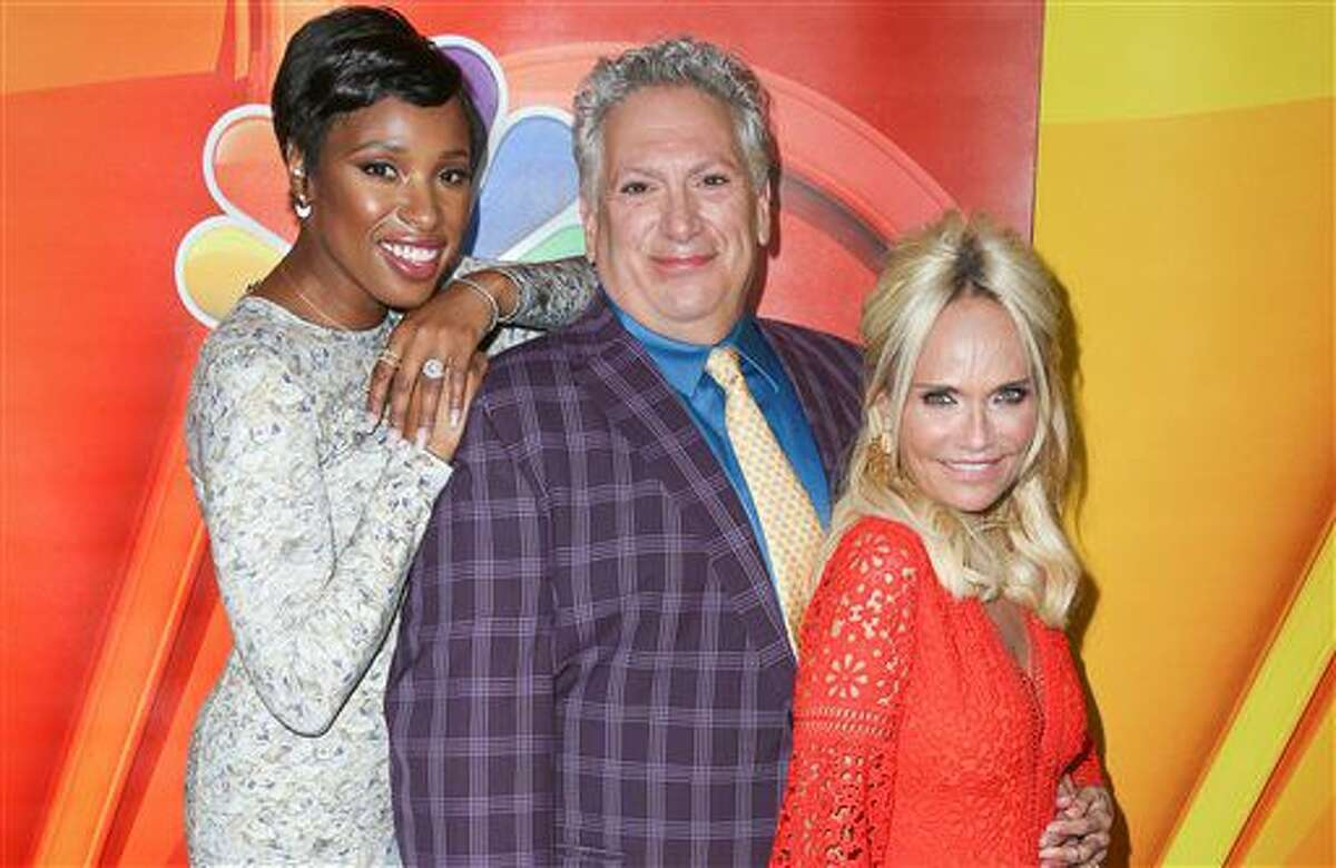 """Jennifer Hudson, from left, Harvey Fierstein and Kristin Chenoweth, cast members in the television special """"Hairspray Live!,"""" arrive at the NBCUniversal Television Critics Association summer press tour on Tuesday, Aug. 2, 2016, in Beverly Hills, Calif. (Photo by Rich Fury/Invision/AP)"""