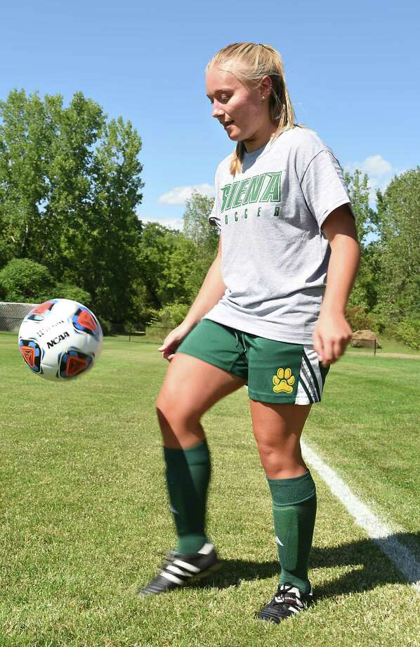 Siena soccer player Kristen Connors dribbles the ball during practice with her team at Siena College on Monday, Aug. 8, 2016 in Loudonville, N.Y. (Lori Van Buren / Times Union) Photo: Lori Van Buren / 20037585A