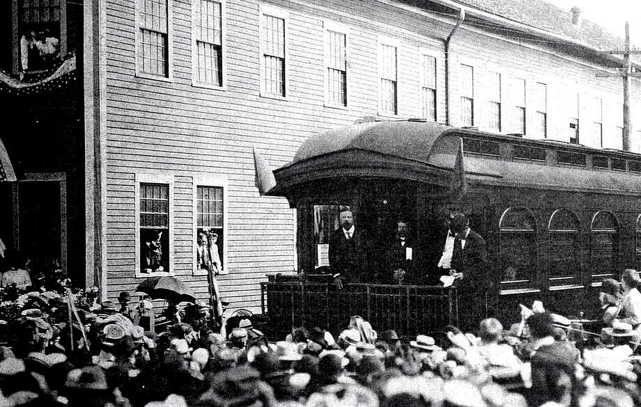 The election season is in full swing, and presidential candidates have been making their way across the country in preparation for Election Day. That has been the case for years, as evident in this early 20th century photo, when President Theodore Roosevelt campaigned through New Milford via train. Photo: Courtesy Of Gina Kensek / The News-Times Contributed