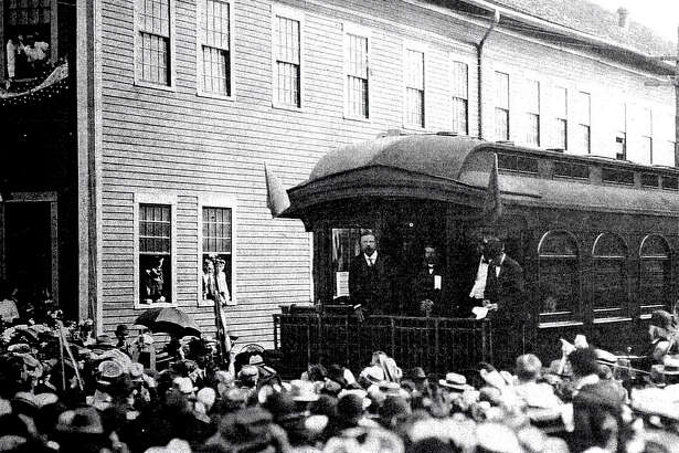 The election season is in full swing, and presidential candidates have been making their way across the country in preparation for Election Day. That has been the case for years, as evident in this early 20th century photo, when President Theodore Roosevelt campaigned through New Milford via train.