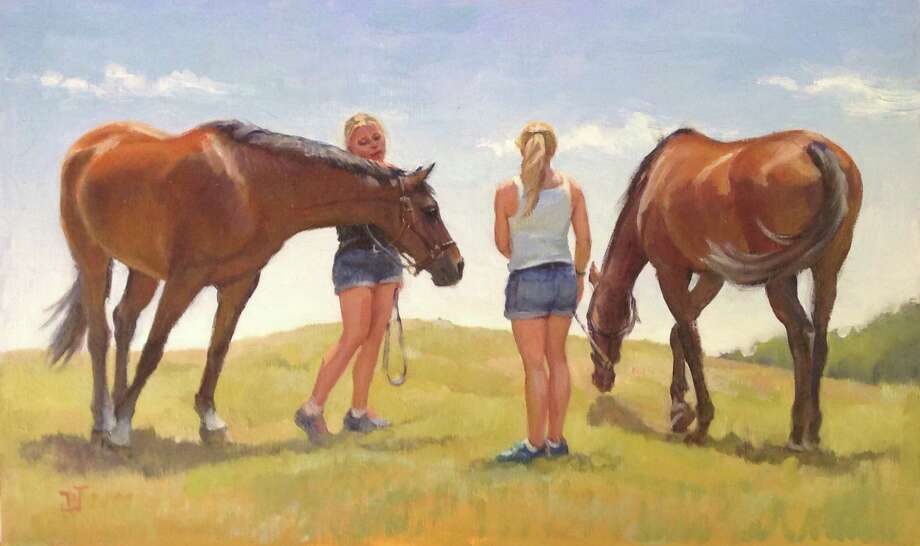 """The Good Gallery in Kent is presenting an exhibit featuring oil paintings by Carol Brightman Johnson through Aug. 31. Above is """"Girls and Horses."""" The gallery is located next to the caboose in Kent. For more information, call 860-927-5065 or visit www.thegoodgallerykent.com. Photo: Courtesy Of The Good Gallery / The News-Times Contributed"""