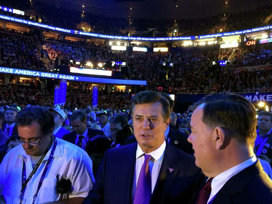 Trump campaign manager and Connecticut native Paul Manafort with state Rep. John Frey, of Ridgefield, convention sergeant-at-arms at the GOP convention in Cleveland, OH on Thursday, July 21, 2016. Photo: Neil Vigdor / Hearst Connecticut Media / Connecticut Post