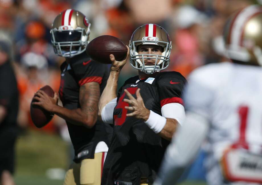 Christian Ponder, in front of Colin Kaepernick at an August practice, had a strong preseason and made the 49ers as the No. 3 quarterback, but hasn't seen the field in the regular season. Photo: David Zalubowski, Associated Press