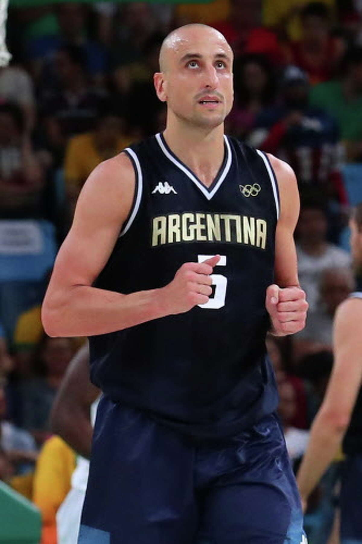 RIO DE JANEIRO, BRAZIL - AUGUST 17: Manu Ginobili #5 of Argentina reacts while taking on the United States during the Men's Basketball Quarterfinal game at Carioca Arena 1 on Day 12 of the Rio 2016 Olympic Games on August 17, 2016 in Rio de Janeiro, Brazil. (Photo by Tom Pennington/Getty Images)