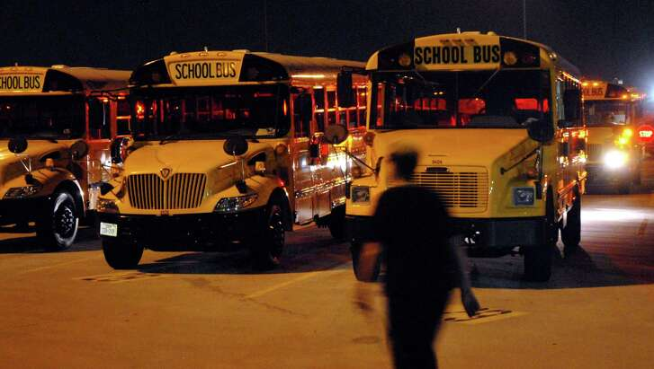 Bus drivers will be reporting to work before daylight for the first day of school in the Houston Independent School District on Monday, Aug. 22, 2016. (Dave Rossman/For the Chronicle)