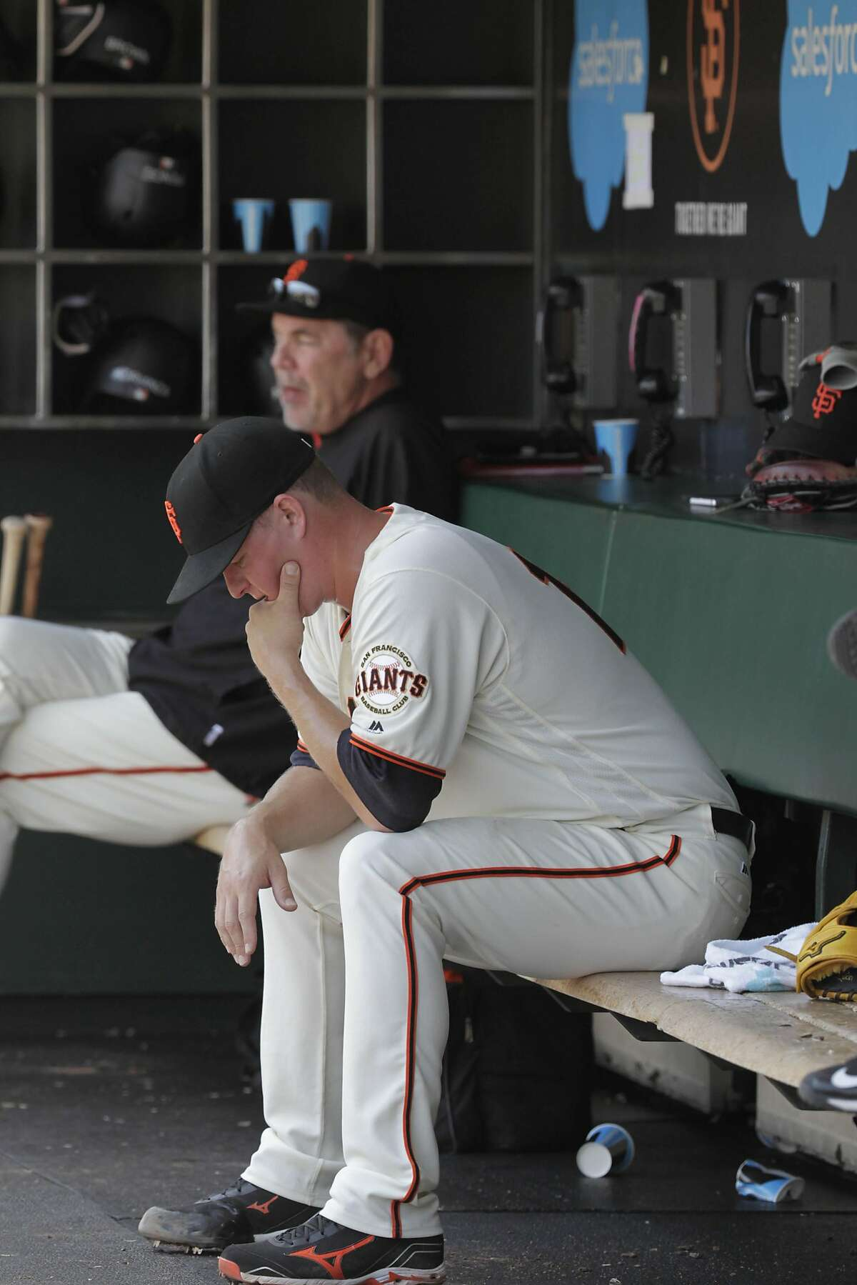 Matt Cain, pitcher, sits in the dug out after being relieved in the top of the fifth inning as the San Francisco Giants play the Pittsburgh Pirates on Wednesday, August 17, 2016 in San Francisco, California. �Final Score: Pittsburgh Pirates: 6 San Francisco Giants: 5