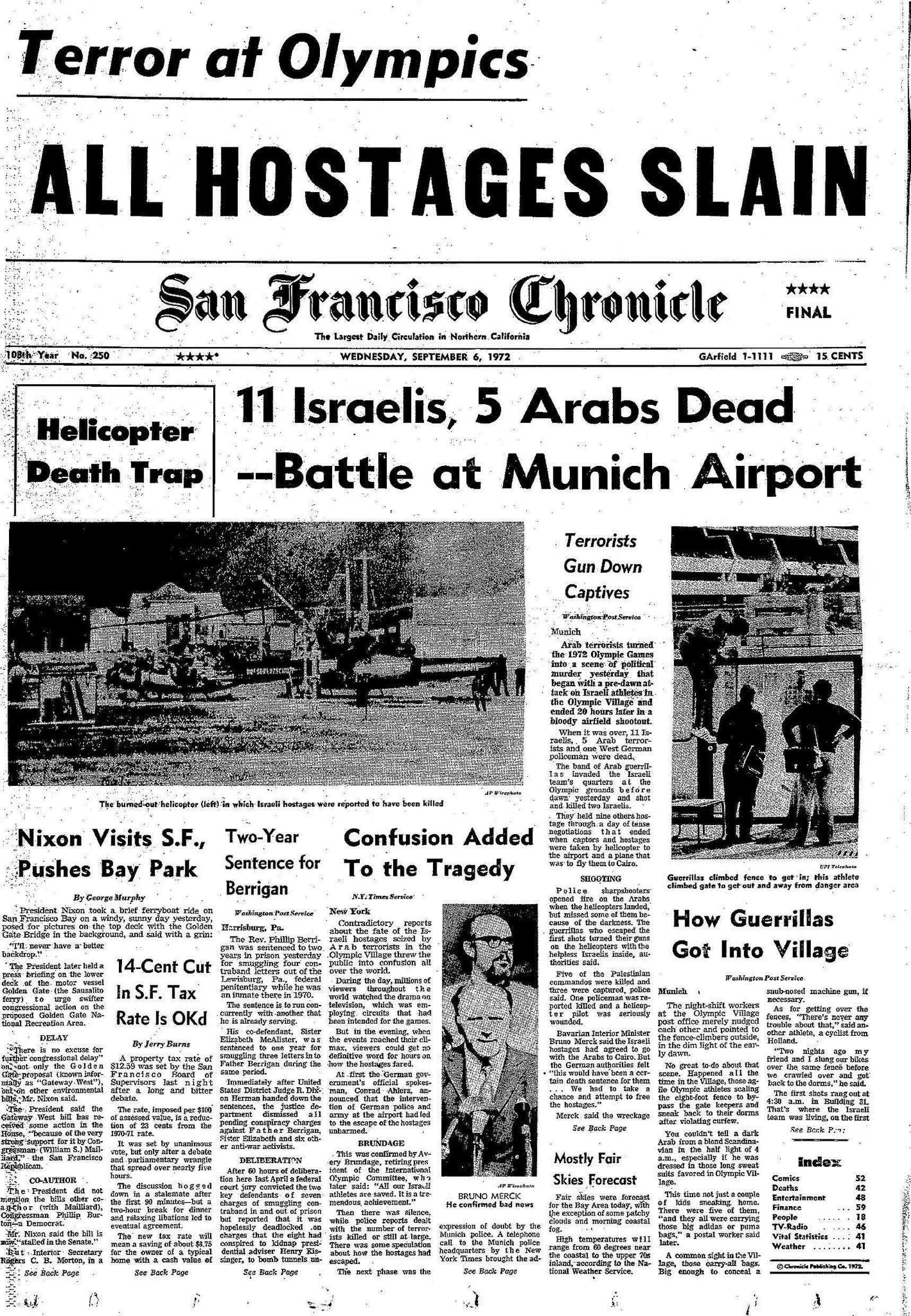 Chronicle Covers: A view of the Munich Olympics massacre