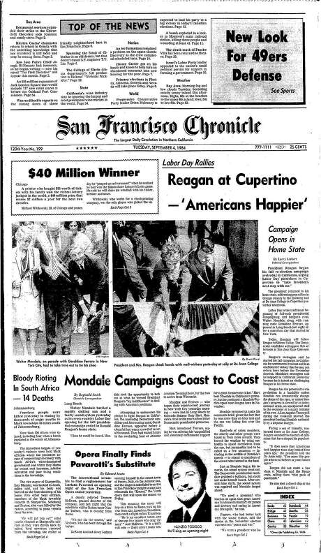 The Chronicle's front page from Sept. 4, 1984, covers President Ronald Reagan's campaigning in Cupertino. Photo: The Chronicle 1984