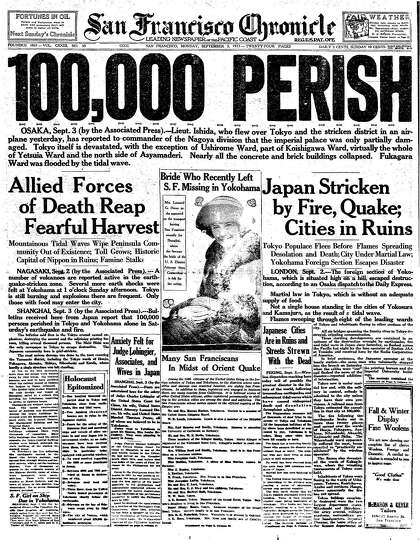 Chronicle Covers Japan S 1923 Quake Left A Staggering Toll Sfchronicle Com